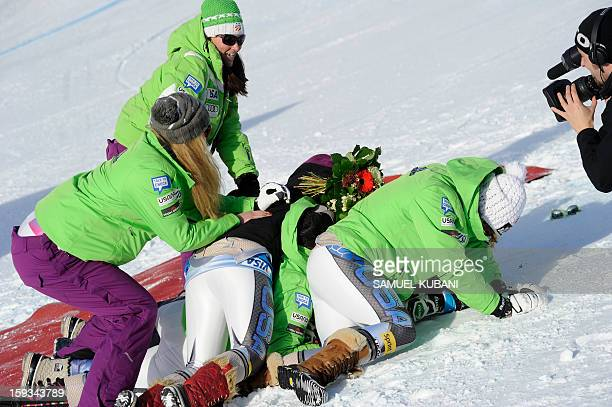 Alice McKennis of US reacts in finish area of the women's World Cup downill on January 12 2012 in St Anton am Arlberg Austria McKennis won the event...