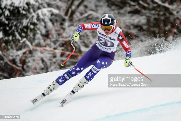 Alice Mckennis of USA competes during the Audi FIS Alpine Ski World Cup Women's Downhill on February 3 2018 in GarmischPartenkirchen Germany