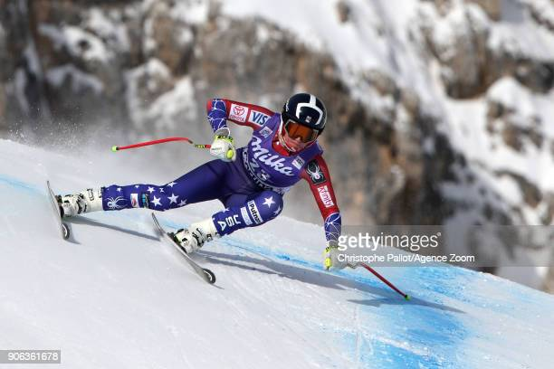 Alice Mckennis of USA in action during the Audi FIS Alpine Ski World Cup Women's Downhill Training on January 18 2018 in Cortina d'Ampezzo Italy