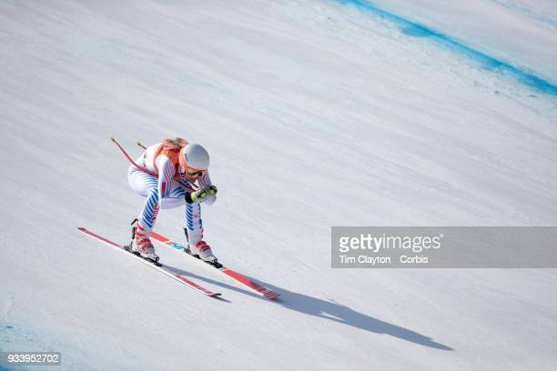 Alice Merryweather of the United States in action during the Alpine Skiing Ladies' Alpine Combined Downhill at Jeongseon Alpine Centre on February 22...