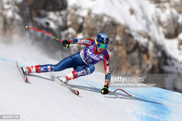 Alice Merryweather of USA in action during the Audi FIS Alpine Ski World Cup Women's Downhill Training on January 18 2018 in Cortina d'Ampezzo Italy