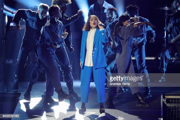 Alice Merton performs on stage during the Echo Award show at Messe Berlin on April 12 2018 in Berlin Germany