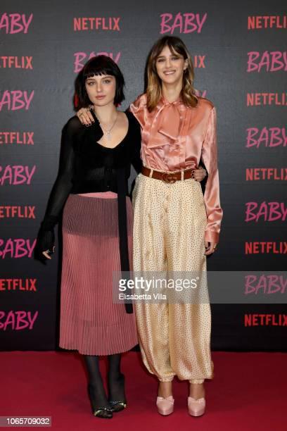 Alice Pagani and Benedetta Porcaroli attend the World Premiere Of Netflix's 'Baby' at Giulio Cesare Cinema on November 27 2018 in Rome Italy