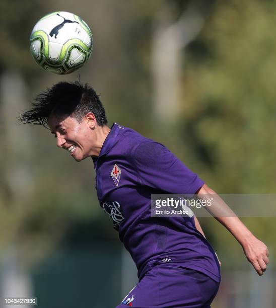 Alice Parisi of Fiorentina Women's FC jumps for the ball during the Serie A match between AC Milan Women and Fiorentina Women at Campo Sportivo...