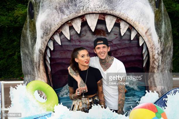 Alice Perrin and Stephen ÔSketchÕ Porter attend a special screening of 'The Meg' at Brockwell Lido on August 7 2018 in London England