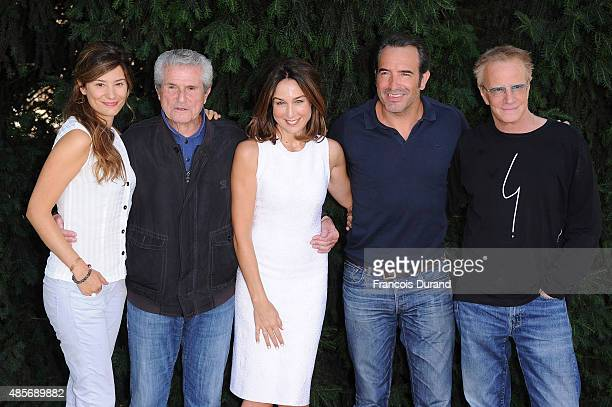 Alice Pol Claude Lelouch Elsa Zylberstein Jean Dujardin and Christophe Lambert attend a photocall for the film 'Un Une' during the 8th Angouleme...