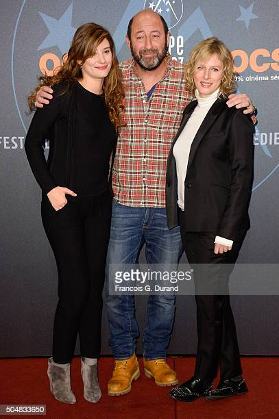 Alice Pol, Kad Merad and Karine Viard arrive at the opening ceremony of the 18th L'Alpe D'Huez International Comedy Film Festival on January 13, 2016...