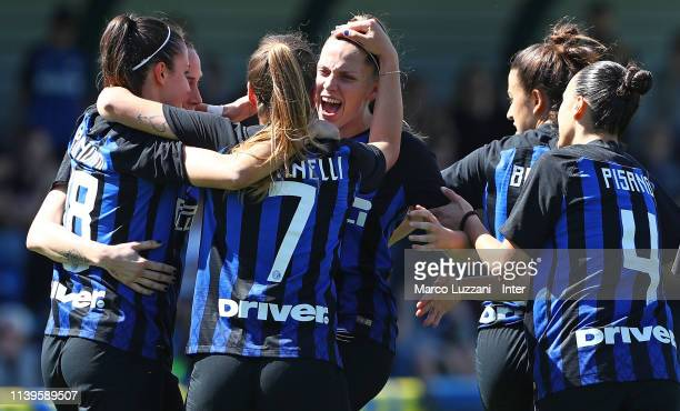 Alice Regazzoli of FC Internazionale celebrates with her teammates after scoring the opening goal during the Women Serie B match between FC...