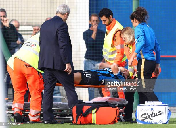 Alice Regazzoli of FC Internazionale leaves the pitch on a stretcher during the Women Serie A match between FC Internazionale v AC Milan on October...