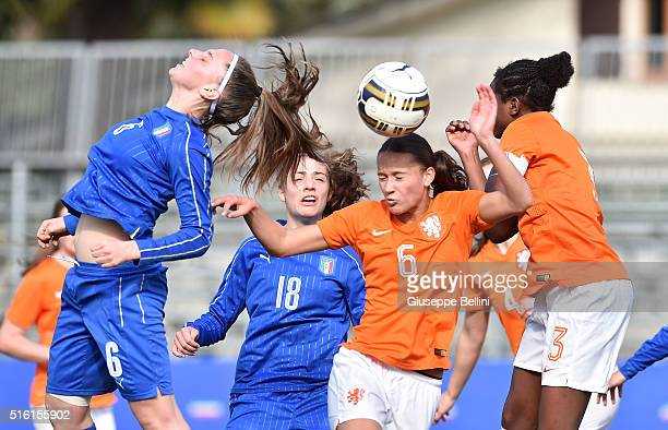 Alice Regazzoli of Italy and Quinty Sabajo of Netherlands in action during the UEFA European Women's Under17 Championship Elite Round match between...