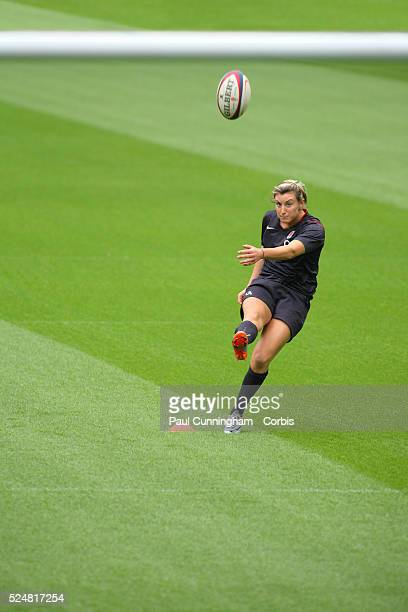 Alice Richardson practice kick The Women's England Rugby Team holding the third annual summer open training day for fans at Twickenham Stadium 11...