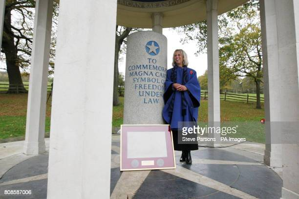 Alice Richmond at the launch of five years of celebrations in Runnymede Surrey to mark the 800th anniversary of the signing of the Magna Carta