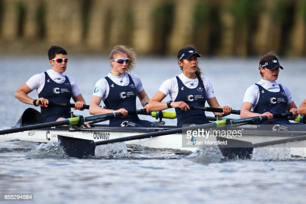 Alice Roberts Beth Bridgman Rebecca Te Water Naude and Rebecca Esselstein of OUWBC race against the Molesey boat during the 2017 Cancer Research Boat...