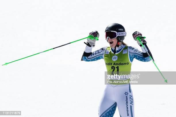 Alice Robinson celebrates during the Audi FIS Alpine Ski World Cup Women's Giant Slalom on March 17 2019 in Andorra la Vella Andorra