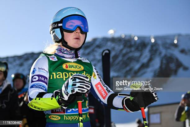 Alice Robinson of New Zealand at the start during the Audi FIS Alpine Ski World Cup Women's Giant Slalom on October 26 2019 in Soelden Austria