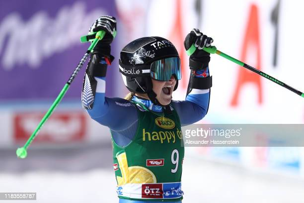 Alice Robinson of New Zealand celebrates after her 2nd run of the Audi FIS Alpine Ski World Cup Women's Giant Slalom at Rettenbachferner on October...