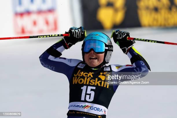 Alice Robinson of New Zealand celebrates during the Audi FIS Alpine Ski World Cup Women's Giant Slalom on February 15 2020 in Kranjska Gora Slovenia