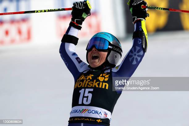 Alice Robinson of New Zealand celebrates during the Audi FIS Alpine Ski World Cup Women's Giant Slalom on February 15, 2020 in Kranjska Gora Slovenia.