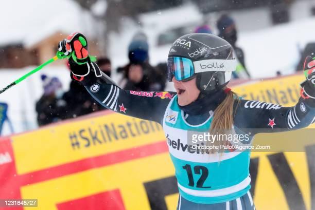 Alice Robinson of New Zealand celebrates during the Audi FIS Alpine Ski World Cup Women's Giant Slalom on March 21, 2021 in Lenzerheide, Switzerland.