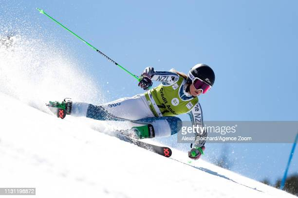Alice Robinson of New Zealand competes during the Audi FIS Alpine Ski World Cup Men's Slalom and Women's Giant Slalom on March 17 2019 in Soldeu...
