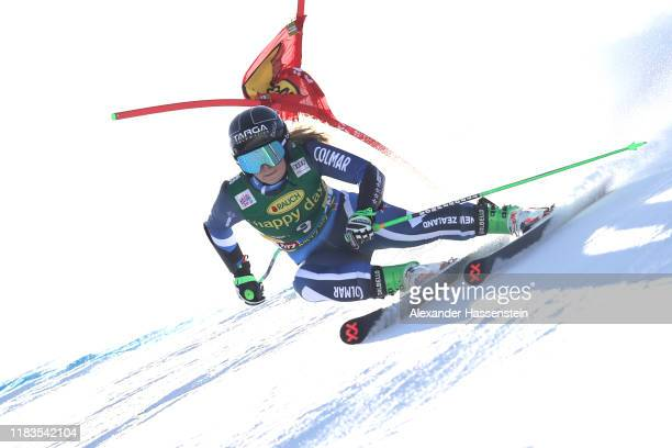 Alice Robinson of New Zealand competes during the Audi FIS Alpine Ski World Cup Women's Giant Slalom at Rettenbachferner on October 26 2019 in...