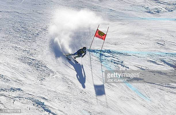 Alice Robinson of New Zealand competes in the Women's giant slalom event of the FIS ski World cup on October 26 2018 in Soelden Austria