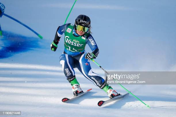 Alice Robinson of New Zealand crashes out during the Audi FIS Alpine Ski World Cup Women's Giant Slalom on December 28, 2019 in Lienz Austria.