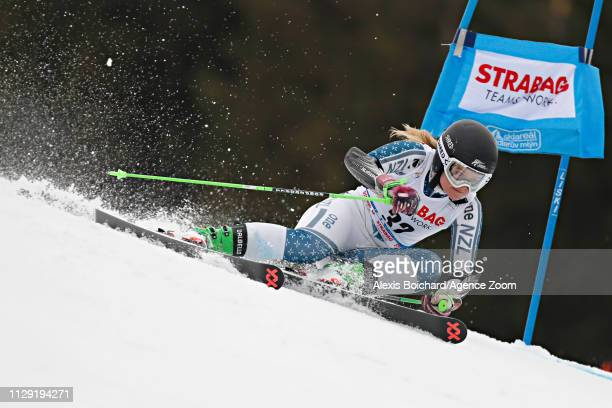 Alice Robinson of New Zealand in action during the Audi FIS Alpine Ski World Cup Women's Giant Slalom on March 8 2019 in Spindleruv Mlyn Czech...