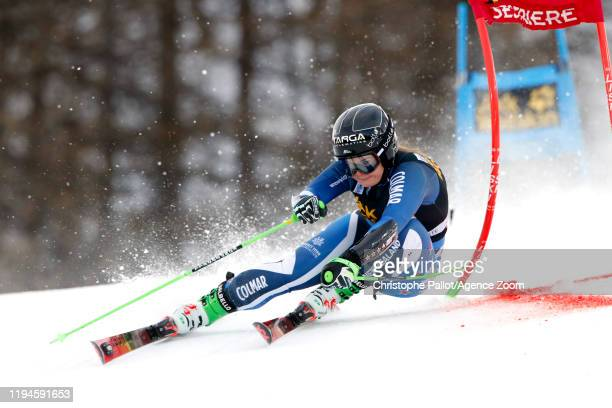Alice Robinson of New Zealand in action during the Audi FIS Alpine Ski World Cup Women's Parallel Slalom on January 19, 2020 in Sestriere Italy.