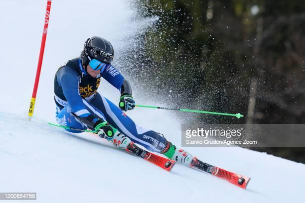 Alice Robinson of New Zealand in action during the Audi FIS Alpine Ski World Cup Women's Giant Slalom on February 15, 2020 in Kranjska Gora Slovenia.