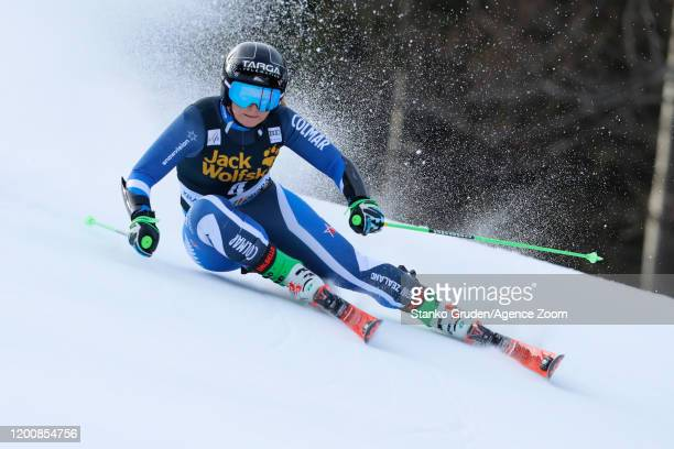 Alice Robinson of New Zealand in action during the Audi FIS Alpine Ski World Cup Women's Giant Slalom on February 15 2020 in Kranjska Gora Slovenia
