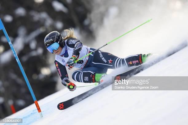 Alice Robinson of New Zealand in action during the Audi FIS Alpine Ski World Cup Women's Giant Slalom in January 17, 2021 in Kranjska Gora, Slovenia.