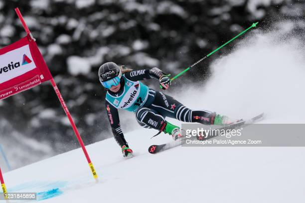 Alice Robinson of New Zealand in action during the Audi FIS Alpine Ski World Cup Women's Giant Slalom on March 21, 2021 in Lenzerheide, Switzerland.