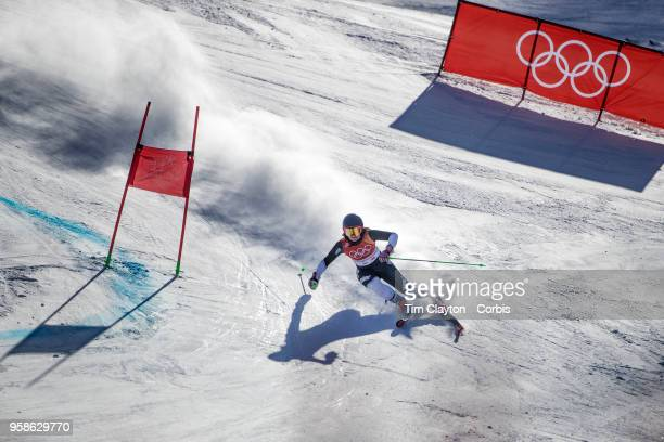 Alice Robinson of New Zealand in action on the first run during the Alpine Skiing Ladies' Giant Slalom competition at Yongpyong Alpine Centre on...