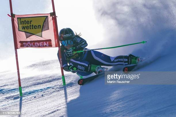 Alice Robinson of New Zealand in the first run of the Audi FIS Alpine Ski World Cup Women's Giant Slalom at Rettenbachferner on October 26 2019 in...
