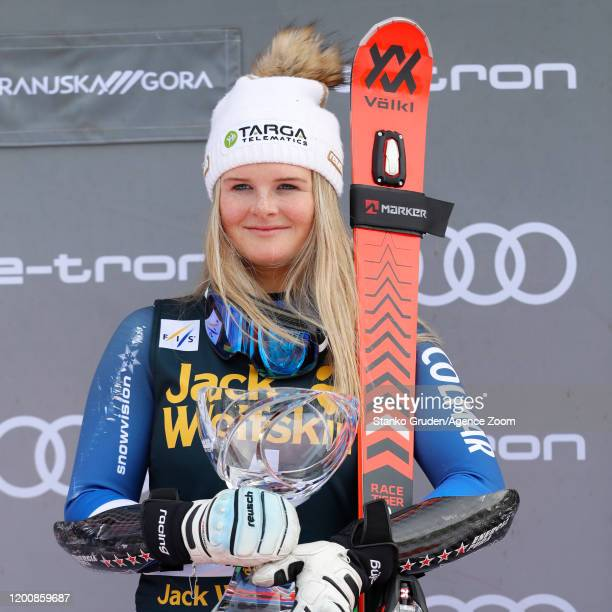 Alice Robinson of New Zealand takes 1st place during the Audi FIS Alpine Ski World Cup Women's Giant Slalom on February 15, 2020 in Kranjska Gora...
