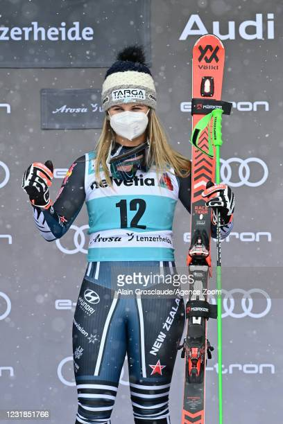 Alice Robinson of New Zealand takes 1st place during the Audi FIS Alpine Ski World Cup Women's Giant Slalom on March 21, 2021 in Lenzerheide,...
