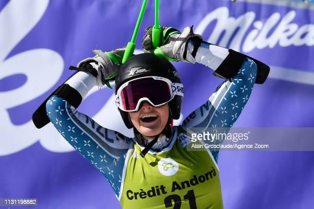 Alice Robinson of New Zealand takes 2nd place during the Audi FIS Alpine Ski World Cup Men's Slalom and Women's Giant Slalom on March 17 2019 in...