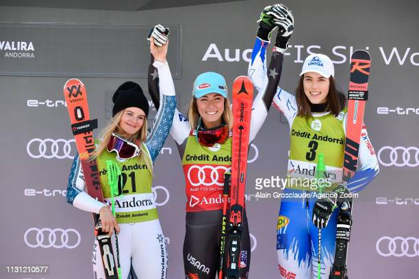 Alice Robinson of New Zealand takes 2nd place, Mikaela Shiffrin of USA takes 1st place, Petra Vlhova of Slovakia takes 3rd place during the Audi FIS...