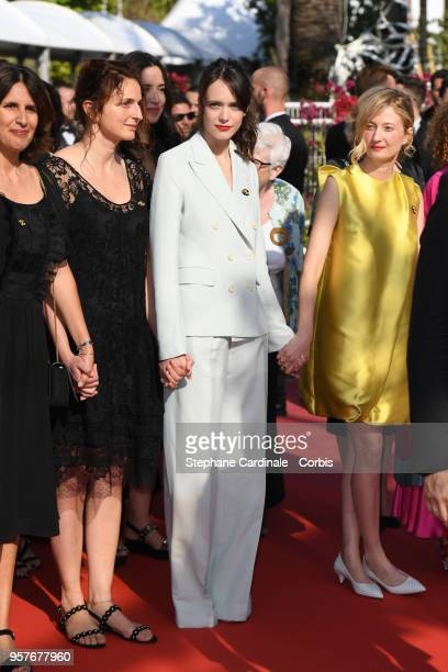 Alice Rohrwacher and Alba Rohrwacher walk the red carpet in protest of the lack of female filmmakers honored throughout the history of the festival...