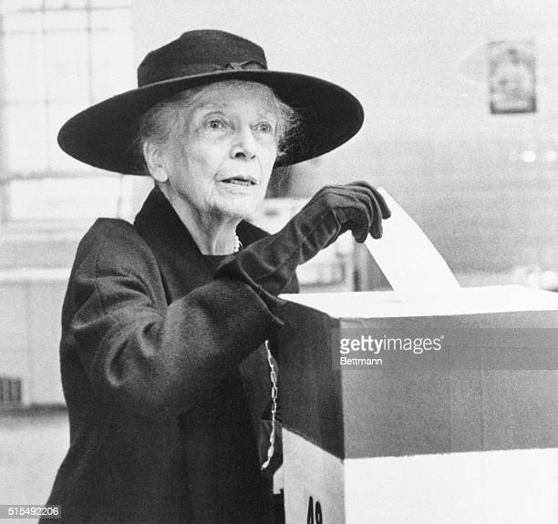 Alice Roosevelt Longworth a dominant feminine figure in Washington since she went to the White House to live with her father in 1901 casts her ballot...