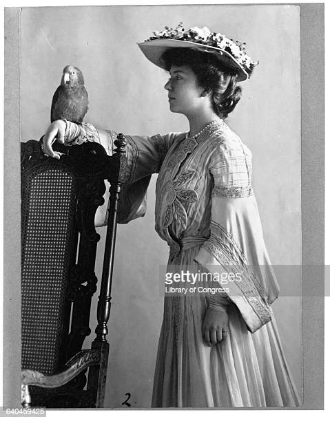 Alice Roosevelt Longworth Holding Parrot on Arm
