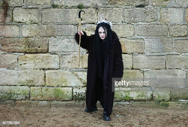 Alice Rowland from Whitby dresses as the folklore figure Krampus ahead of a charity event on December 3 2016 in Whitby United Kingdom The Krampus is...