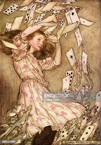 Alice s Adventures in Wonderland by Lewis Carroll Caption readsAt this the whole pack rose up into the air and came flying down upon her Illustration...