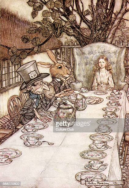Alice s Adventures in Wonderland by Lewis Carroll Caption readsThe Mad Hatters Tea Party Illustration by Arthur Rackham LC English childrens writer...