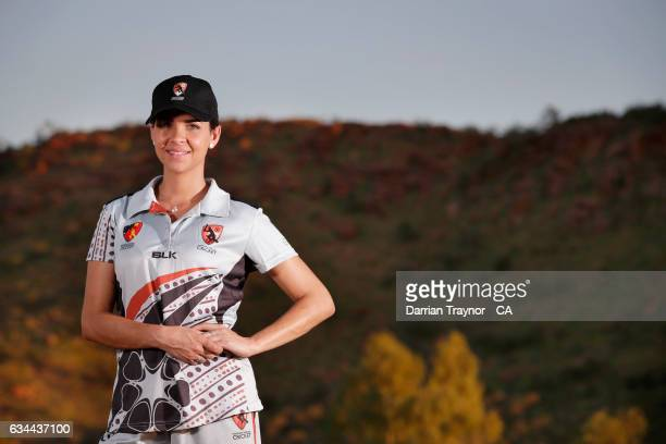 Alice Spring local and Northern Territory player Rita Tomlins poses for a phoot on February 7 2017 in Alice Springs Australia