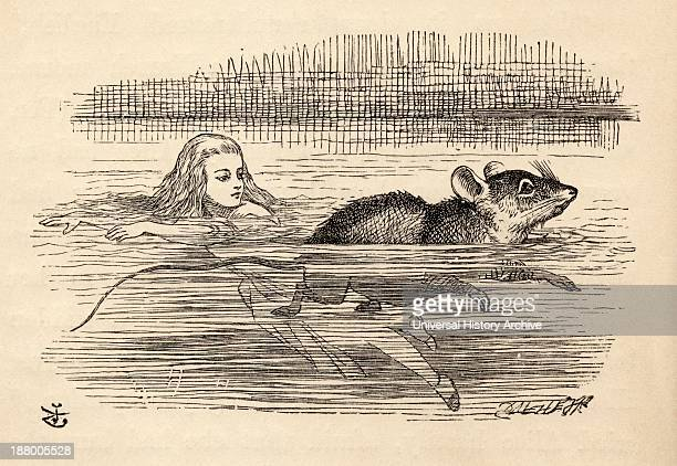 Alice Swimming With A Mouse In The Pool Of Tears Illustration By John Tenniel From The Book Alices's Adventures In Wonderland By Lewis Carroll...
