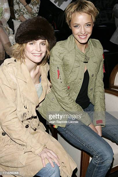 Alice Taglioni and Helene de Fougerolles during Paris Fashion Week - Ready to Wear - Fall/Winter 2005 - Dior - Front Row and Arrivals in Paris,...