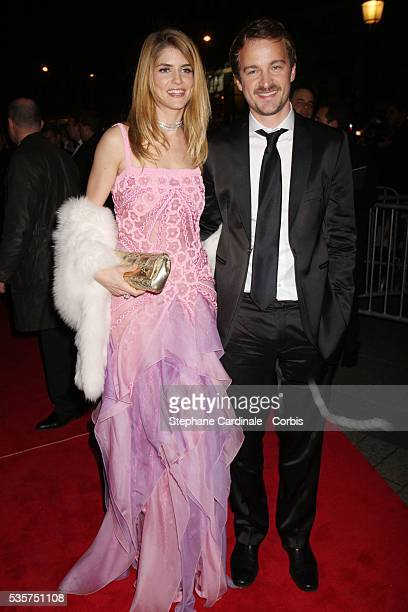 Alice Taglioni and Jocelyn Quivrin attend the 2008 Cesar dinner at the Fouquet's restaurant in Paris