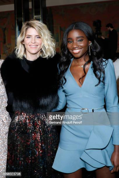 Alice Taglioni and Karidja Toure attend the Elie Saab Haute Couture Spring Summer 2019 show as part of Paris Fashion Week on January 23, 2019 in...